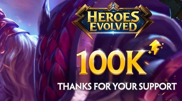Pencapaian 100 Ribu Followers di Facebook Fanspage Heroes Evolved Bagi-bagi Hadiah